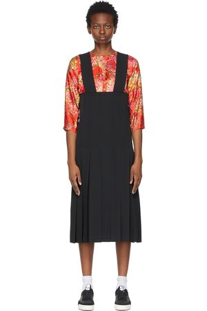 Comme des Garçons Women Pleated Skirts - Black Pleated Shoulder Strap Skirt