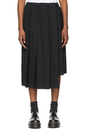 Comme des Garçons Black Wool Asymmetric Pleated Skirt