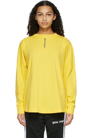 Palm Angels Yellow NS Logo Long Sleeve T-Shirt