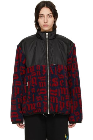 Palm Angels Women Fleece Jackets - & Red Paneled Monogram Pile Jacket