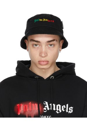 Palm Angels Black Miami Logo Bucket Hat