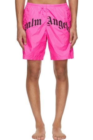 Palm Angels Pink Curved Logo Swim Shorts