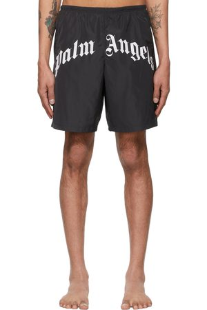 Palm Angels Black Curved Logo Swim Shorts
