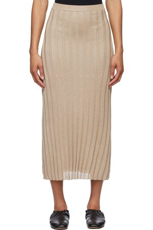 Totême Gold Rib Knit Maxi Skirt