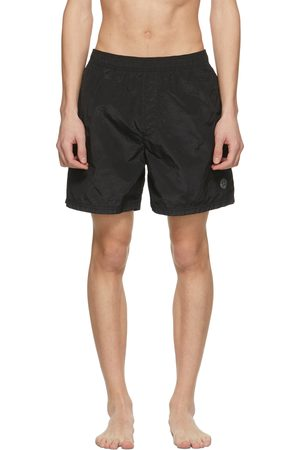 Stone Island Men Swim Shorts - Black Logo Patch Swim Shorts