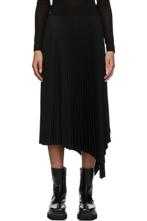 Joseph Black Swinton Pleated Ribbed Skirt