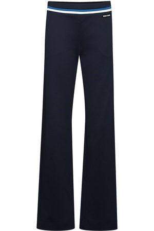 Miu Miu Women Formal Trousers - Stripe-detail logo-patch tailored trousers