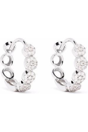 Dinny Hall 14kt white gold Shuga pave diamond huggie hoop earrings