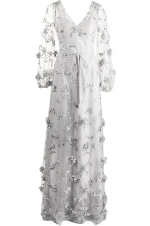 Marchesa Notte Floral-detail puff-sleeve gown
