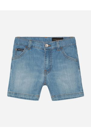 Dolce & Gabbana Boys Trousers - Trousers and Shorts - Stretch denim bermuda pants in washed baby blue color male 6/9