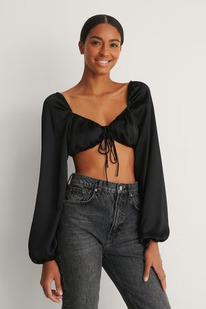 NA-KD Women Crop Tops - Tie Front Cropped Satin Blouse - Black