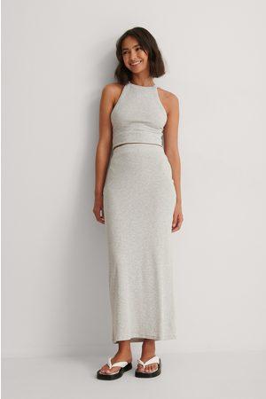 NA-KD Rib Maxi Skirt - Grey