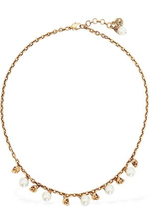 Alexander McQueen Women Necklaces - Crystal Pearl & Skull Short Necklace