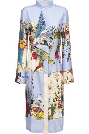 Salvatore Ferragamo Printed Patchwork Silk Midi Dress
