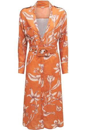 JOHANNA ORTIZ Print Organic Linen Belted Shirt Dress