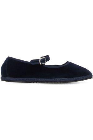 VIBI VENEZIA 10mm Mary Jane Blu Velvet Loafers