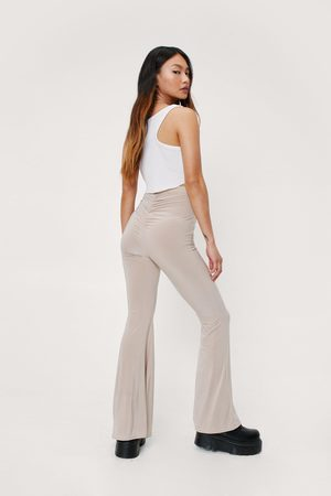 NASTY GAL Women Wide Leg Trousers - Womens Petite Ruched High Waisted Flare trousers