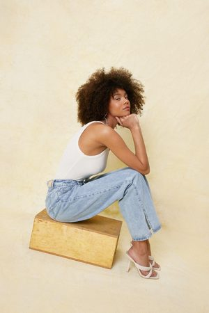 NASTY GAL Womens High Waisted Split Hem Wide Leg Jeans