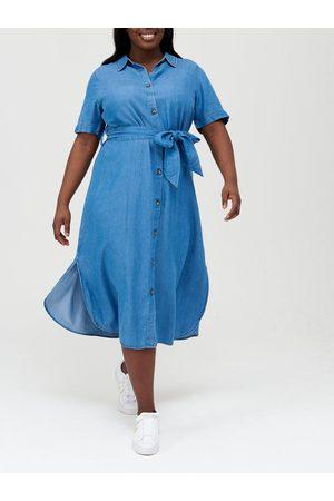 Very Short Sleeve Soft Touch Denim Midi Shirt Dress