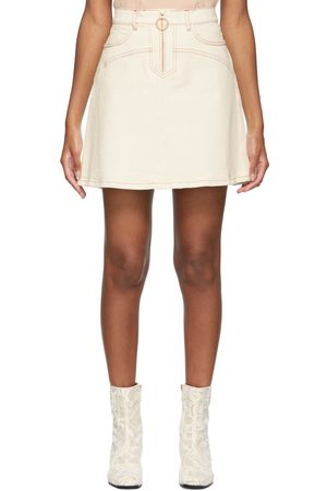 See by Chloé Off-White Denim Zip Topstitched Skirt
