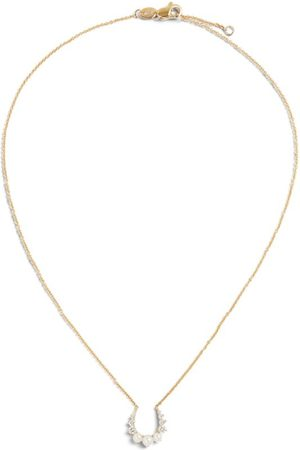 Noa Mini + Hannah Gold, Diamond and Pearl Horseshoe Pendant Necklace