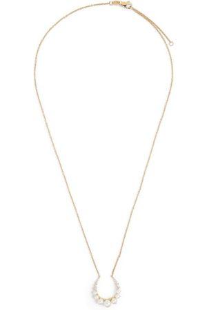 Noa Mini Gold, Diamond and Pearl Horseshoe Large Pendant Necklace