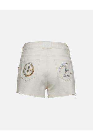 Evisu Kamon and Logo Print Denim Shorts