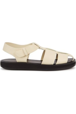 THE ROW Fisherman Ivory Leather Sandals