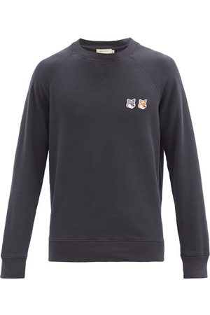 Maison Kitsuné Men Sweatshirts - Double Fox Head-patch Cotton Sweatshirt - Mens - Dark