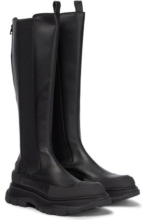 Alexander McQueen Women High Leg Boots - Tread leather knee-high boots