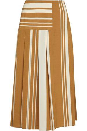Joseph Women Midi Skirts - Swanson striped crêpe midi skirt