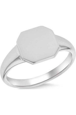 The Love Silver Collection Sterling Rhodium Plated 10Mm X 10Mm Octagon Signet Ring