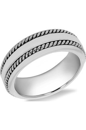 The Love Silver Collection Men Rings - Sterling Rhodium Plated 7Mm Double-Twist-Design Band Ring