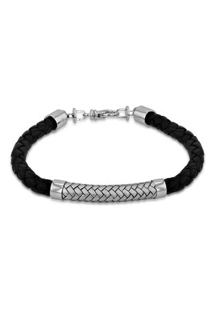The Love Silver Collection Sterling Rhodium Plated 7.5Mm Black Leather And Satin Herringbone Bracelet 21.5Cm/8.5