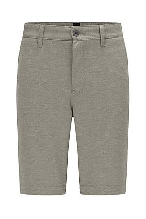 HUGO BOSS Men Trousers - Tapered-fit shorts in two-tone knitted stretch fabric