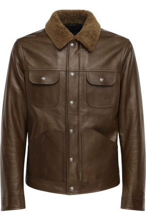 Tom Ford Men Leather Jackets - Shiny Leather Jacket W/ Shearling Collar