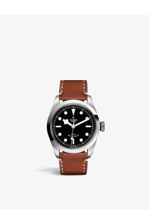 TUDOR M795540-0007 Black Bay 41 stainless steel and leather automatic watch