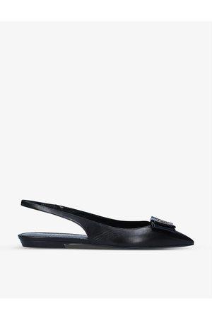 Saint Laurent Women Flat Shoes - Anais bow-embellished leather flats