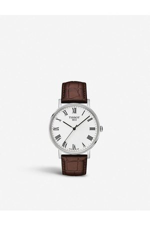 Tissot Men Watches - Everytime stainless steel and leather watch