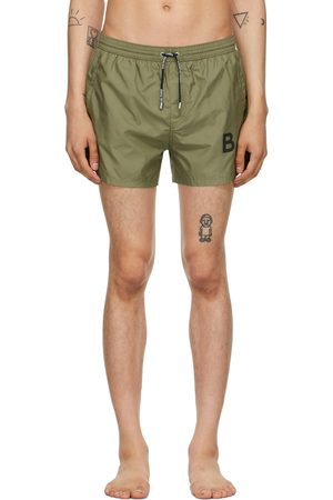 Balmain Men Swim Shorts - Green Logo Swim Shorts