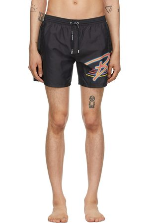 Balmain Men Swim Shorts - Black Multicolor Logo Swim Shorts