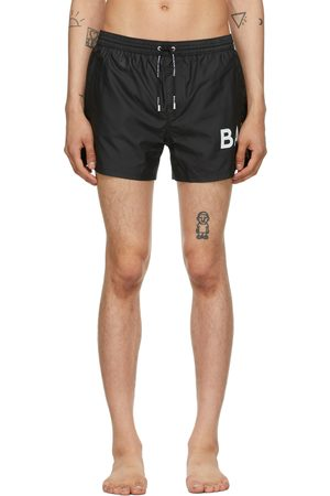 Balmain Men Swim Shorts - Black Logo Swim Shorts