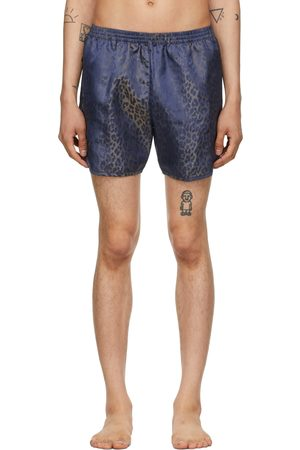 TRUE TRIBE Men Swim Shorts - Blue Leopard Wild Steve Swim Shorts