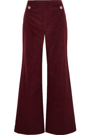 TEMPERLEY LONDON Woman Esmeralda Cotton-velvet Wide-leg Pants Burgundy Size 18