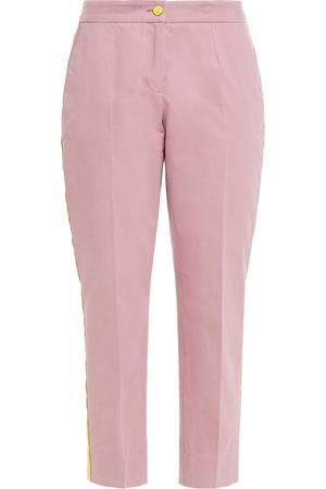 Dolce & Gabbana Woman Cropped Striped Cotton And Silk-blend Tapered Pants Size 36