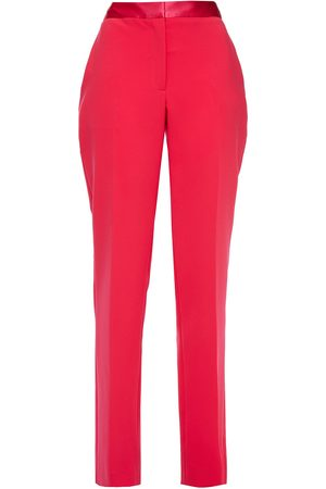Carolina Herrera Woman Silk Satin-trimmed Stretch-crepe Straight-leg Pants Coral Size 10