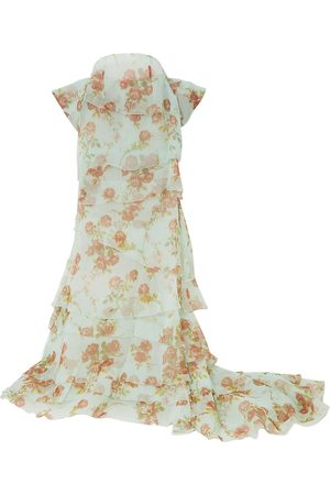 BROCK COLLECTION Woman Bow-detailed Tiered Floral-print Silk-organza Maxi Skirt Mint Size 0