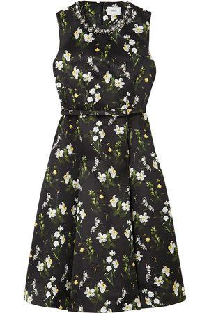 Erdem Women Printed Dresses - Woman Farrah Belted Embellished Floral-print Mikado Midi Dress Size 10