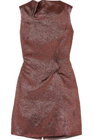 Roland Mouret Woman Gathered Metallic Organza Mini Dress Rose Size 10