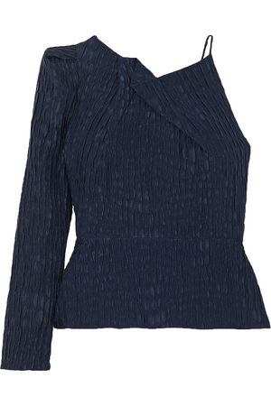 Roland Mouret Women Tops - Woman Bryant One-sleeve Gathered Silk-jacquard Top Navy Size 10